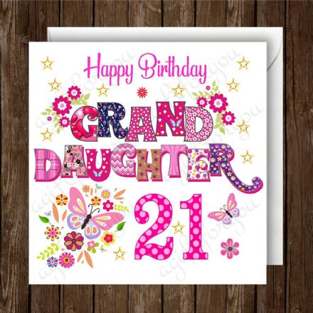 Personalised Granddaughter Birthday Card Any Age